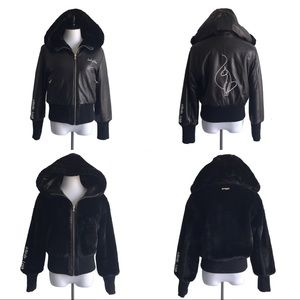Baby Phat Leather Reversible Faux Fur Hooded Coat